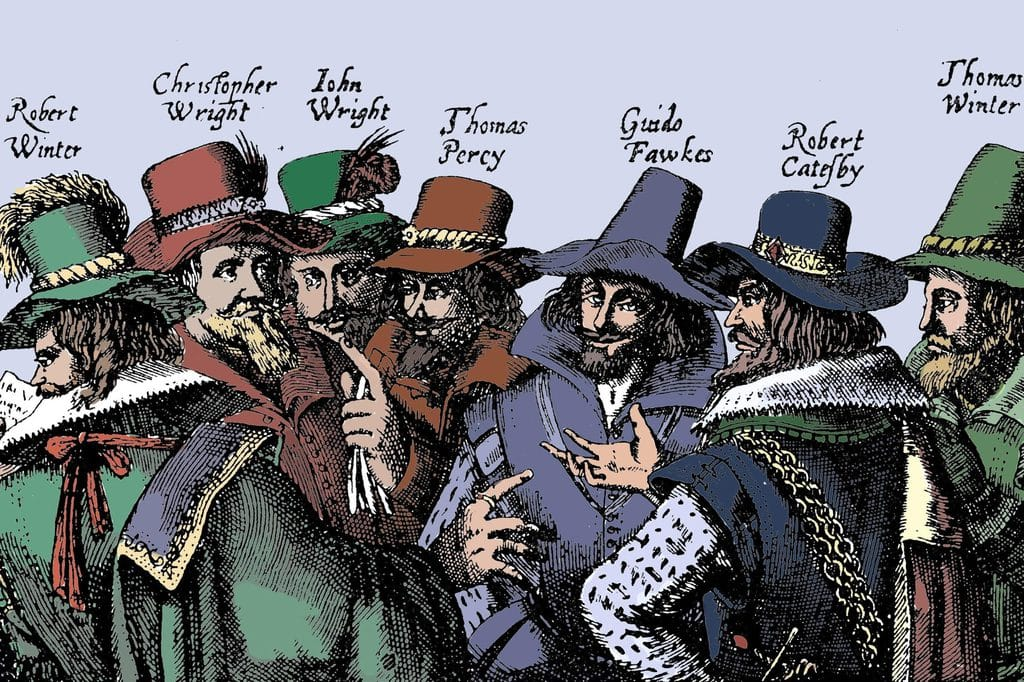 A depiction of the main conspirators behind the failed Gunpowder Plot including Guy Fawkes and Robert Catesby