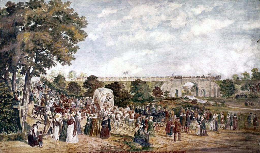 Painting of Britain's First Railroad by John Dobbin