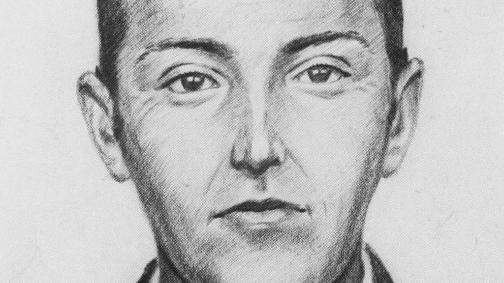 A drawing of D.B. Cooper made according to witness accounts