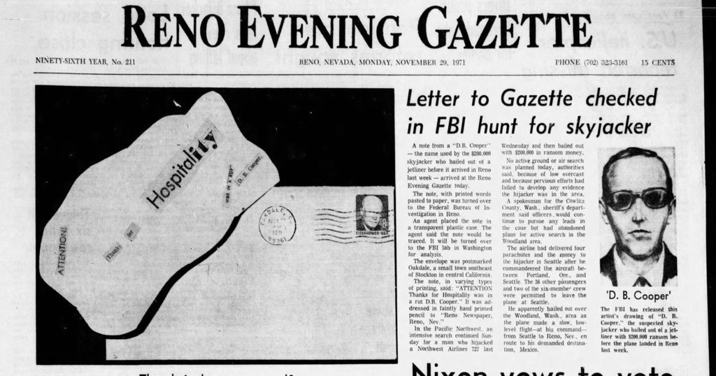 the front page of the Reno Evening Gazette showing the first letter sent by D.B. Cooper (Nov. 29, 1971)