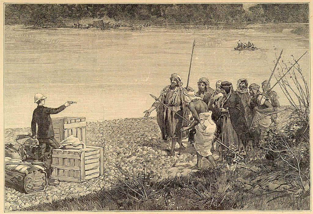 """Jane Dieulafoy defending her team's supplies - Image from the exhibit """"Wilder Shores: Lady Travelers of the 18th and 19th Centuries"""" in the UCLA Libraries Special Collections"""