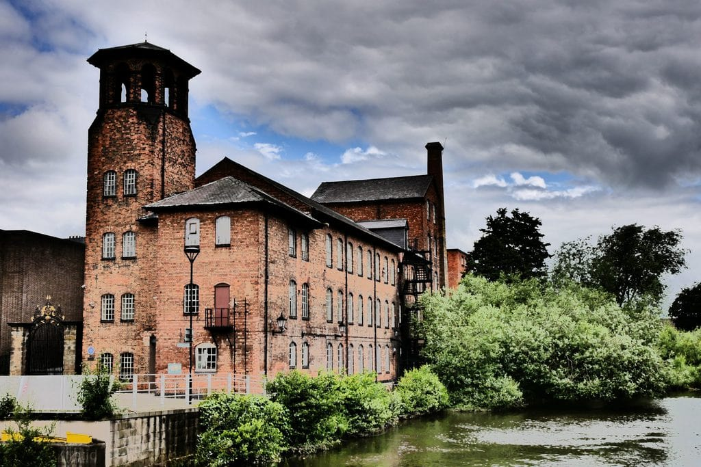 The Derby Silk Mill with its burned Italianate tower and factory