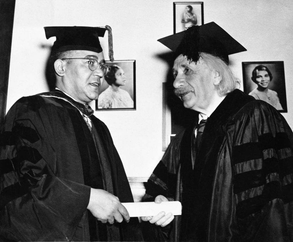 Horace Mann, the president of Lincoln University presents Albert Einstein with an honorary degree in 1946